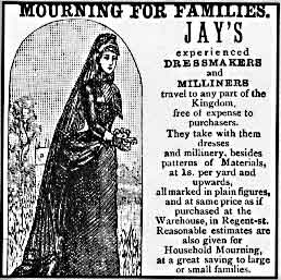 Advertisement for Victorian mourning garb US Public Domain Copyright Expired